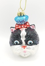 Tuxedo Cat with Bow, Glass Ornament
