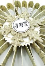 """JOY"" Scrolled Paper Tinsel Snowflake Ornament"