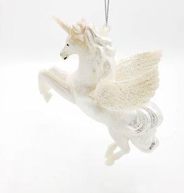 White Pegasus Glittered Ornament
