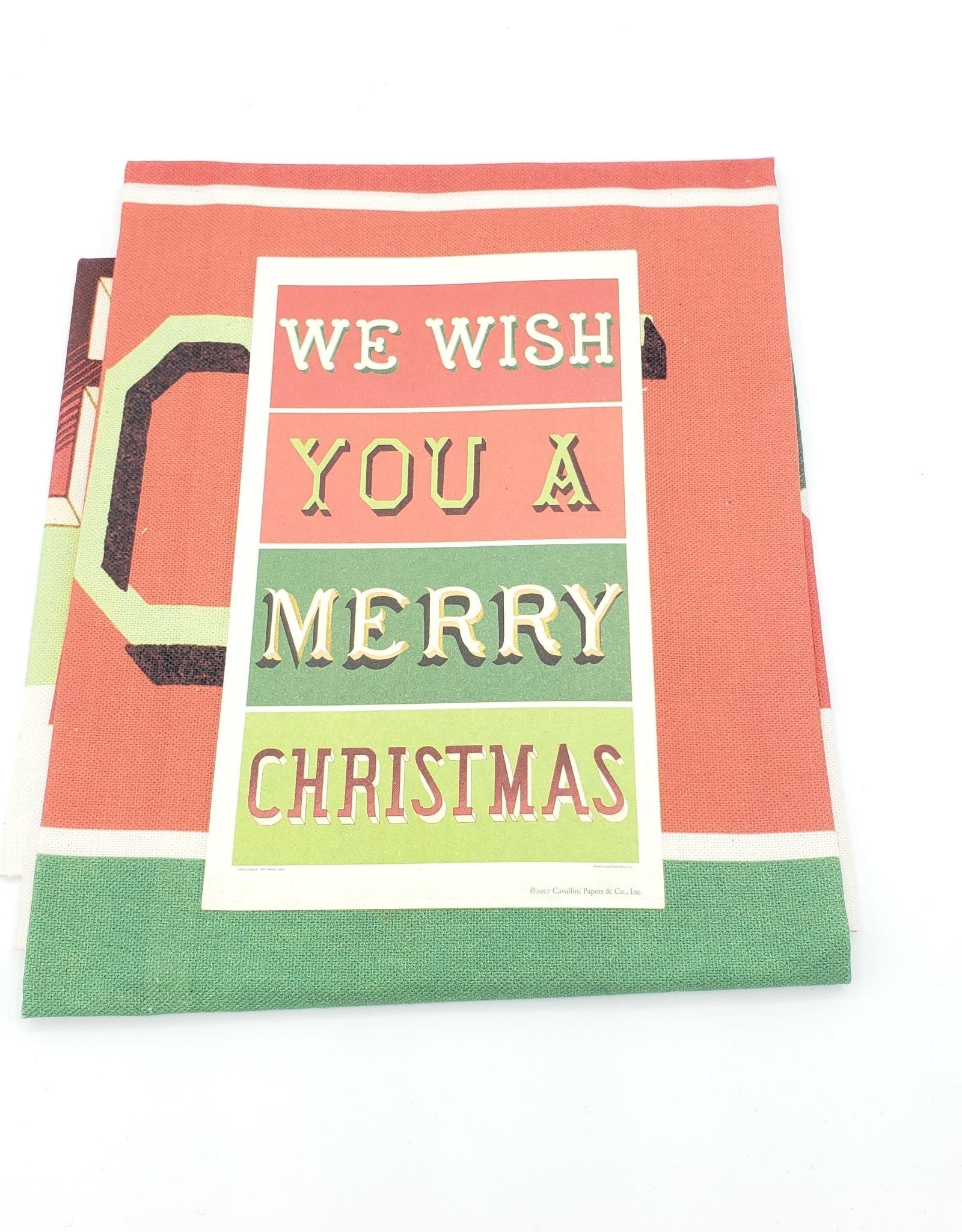 Cavallini Papers Merry Christmas Tea Towel by Cavallini