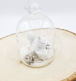 Squirrel in Glass Belljar Ornament
