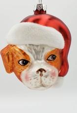 Orange Dog in Santa Hat, Glass Ornament