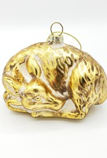 Sleeping Deer Glass Ornament