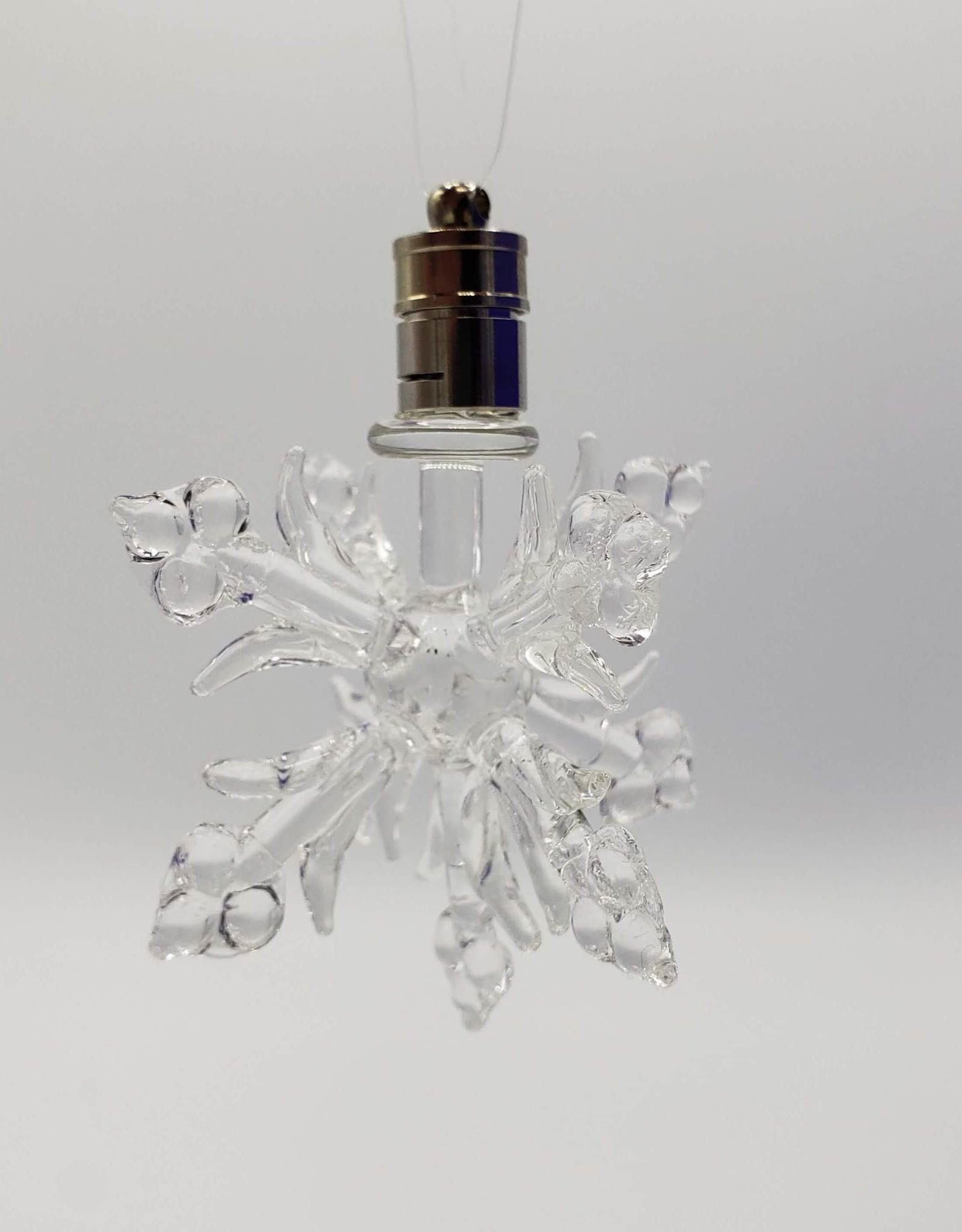 Glass Lampwork Snowflake Ornament, LED Light
