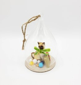 Kitschy Siamese Cat Bell Jar Ornament