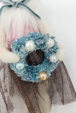 Vintage Style Felted Mouse Lady w/Tiny Wreath Ornament