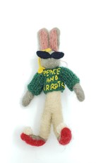 "Felt Rabbit ""Peace & Carrots"" Plush Doll"