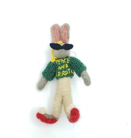 "Felt Rabbit ""Peace & Carrots"" Ornament"