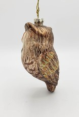 Glass Great Horned Owl Glittered Ornament, Brown