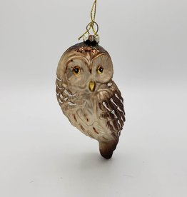 Glass Owl Glittered Ornament, Brown