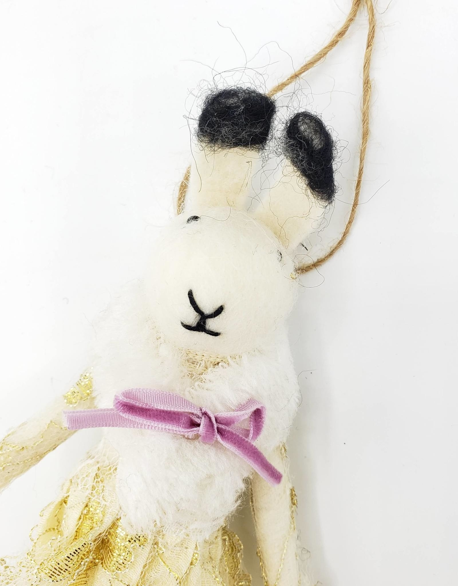 Vintage Style Felted Bunny Lady Ornament
