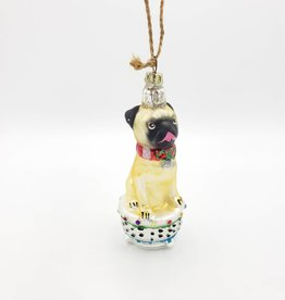 Tall Pug Ornament on Pedestal, Glass