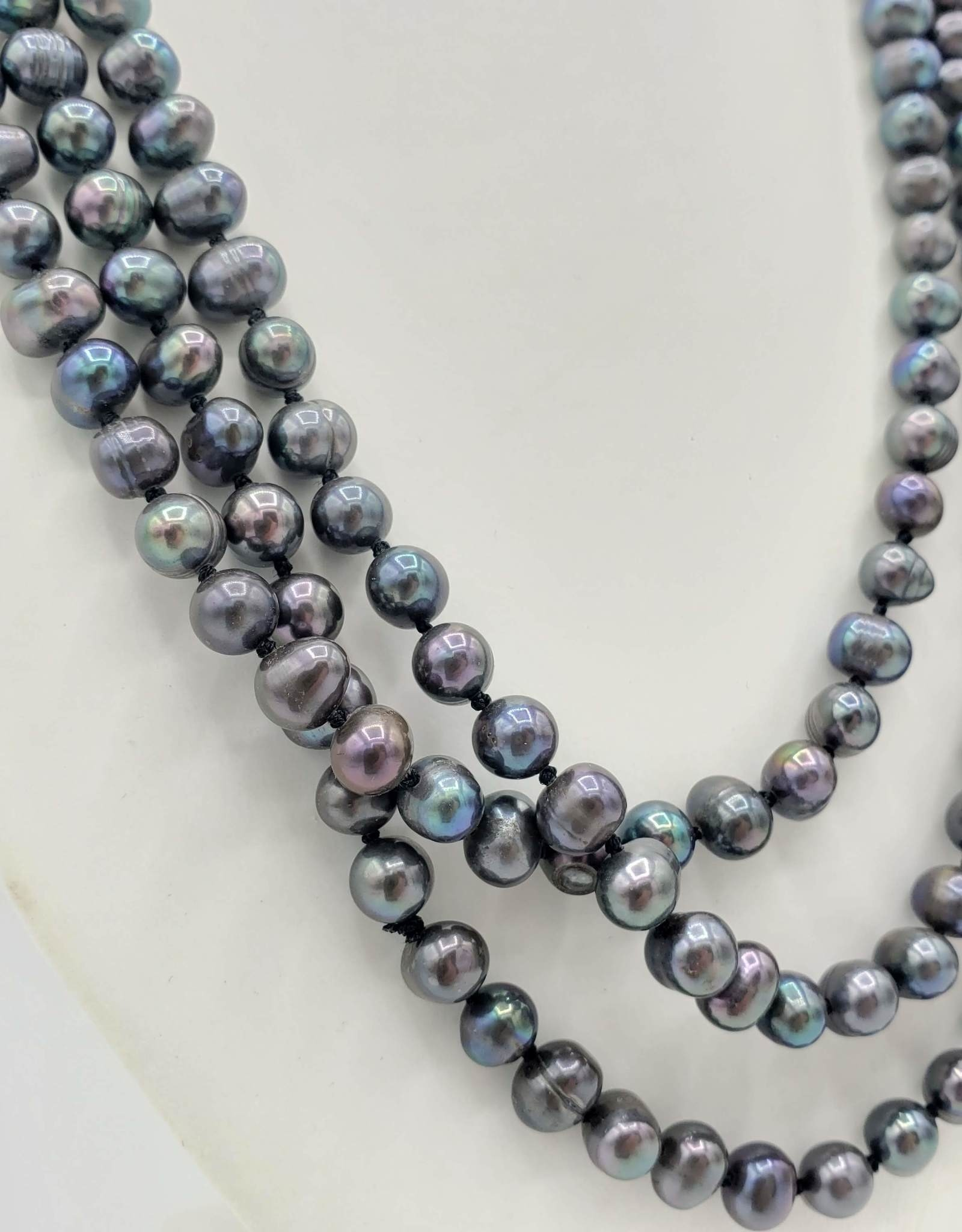 Long Strand of Peacock Freshwater Pearls Necklace