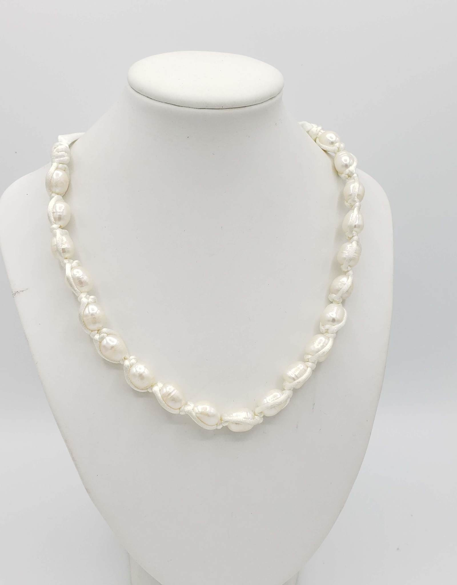 White Freshwater Pearl Necklace w/Ribbon