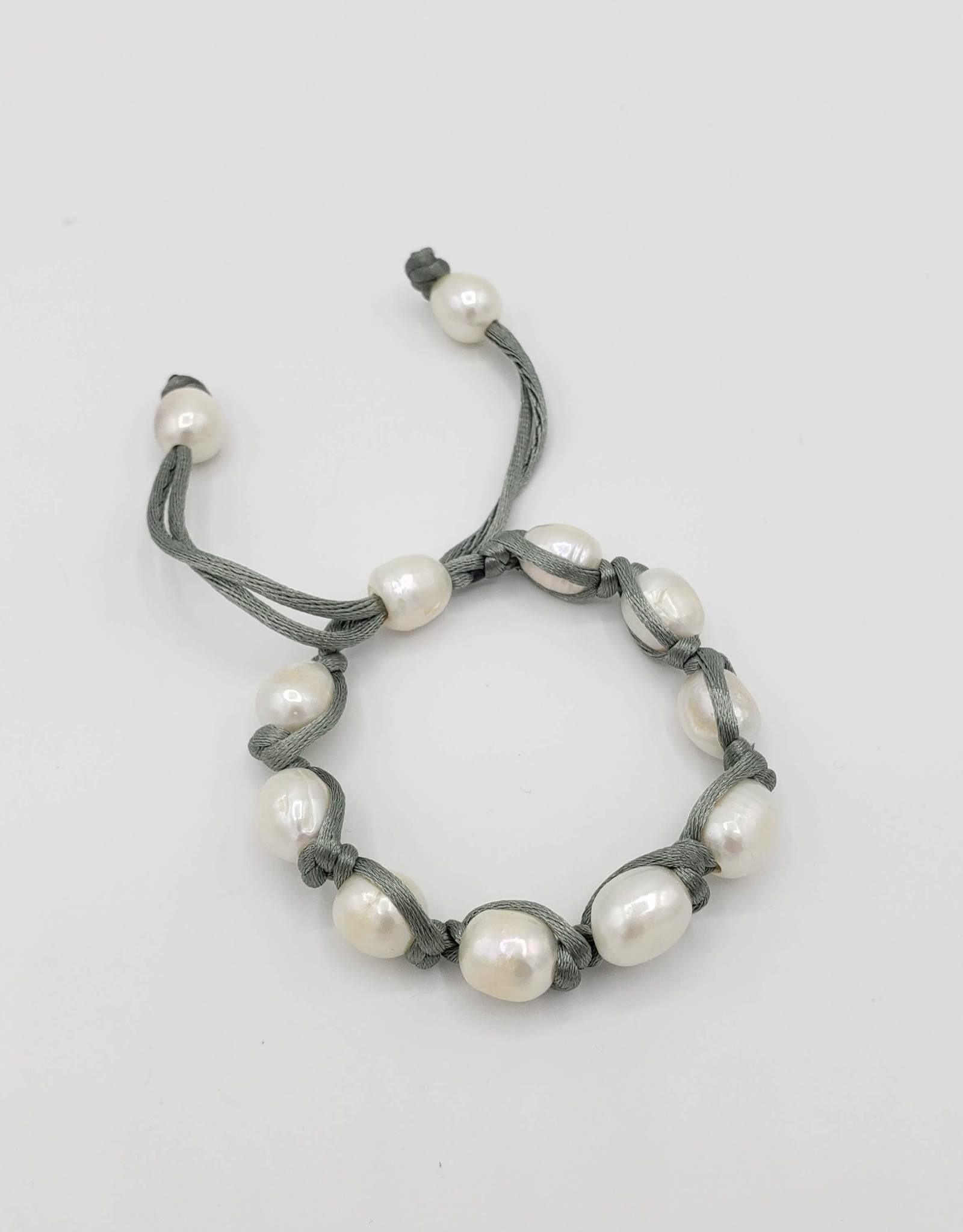 White Freshwater Pearl Bracelet w/Silk Cord