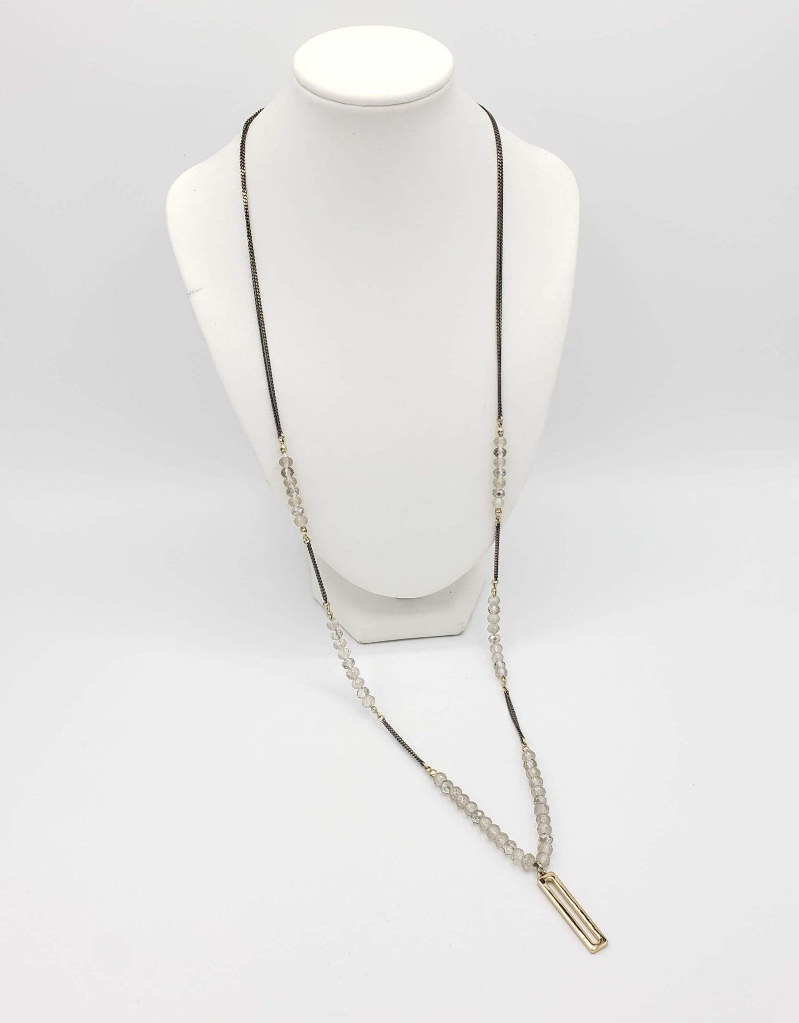 Long Double Chain w/ Faceted Stones Necklace