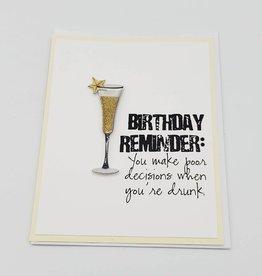 """Poor Decisions When Drunk"" Birthday Greeting Card by Muddy Mouth Cards"