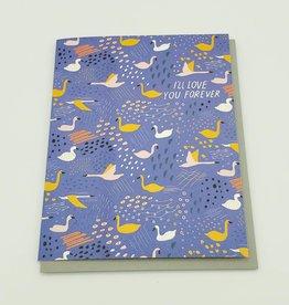 """I'll Love You Forever"" Swans Greeting Card - Carolyn Suzuki"