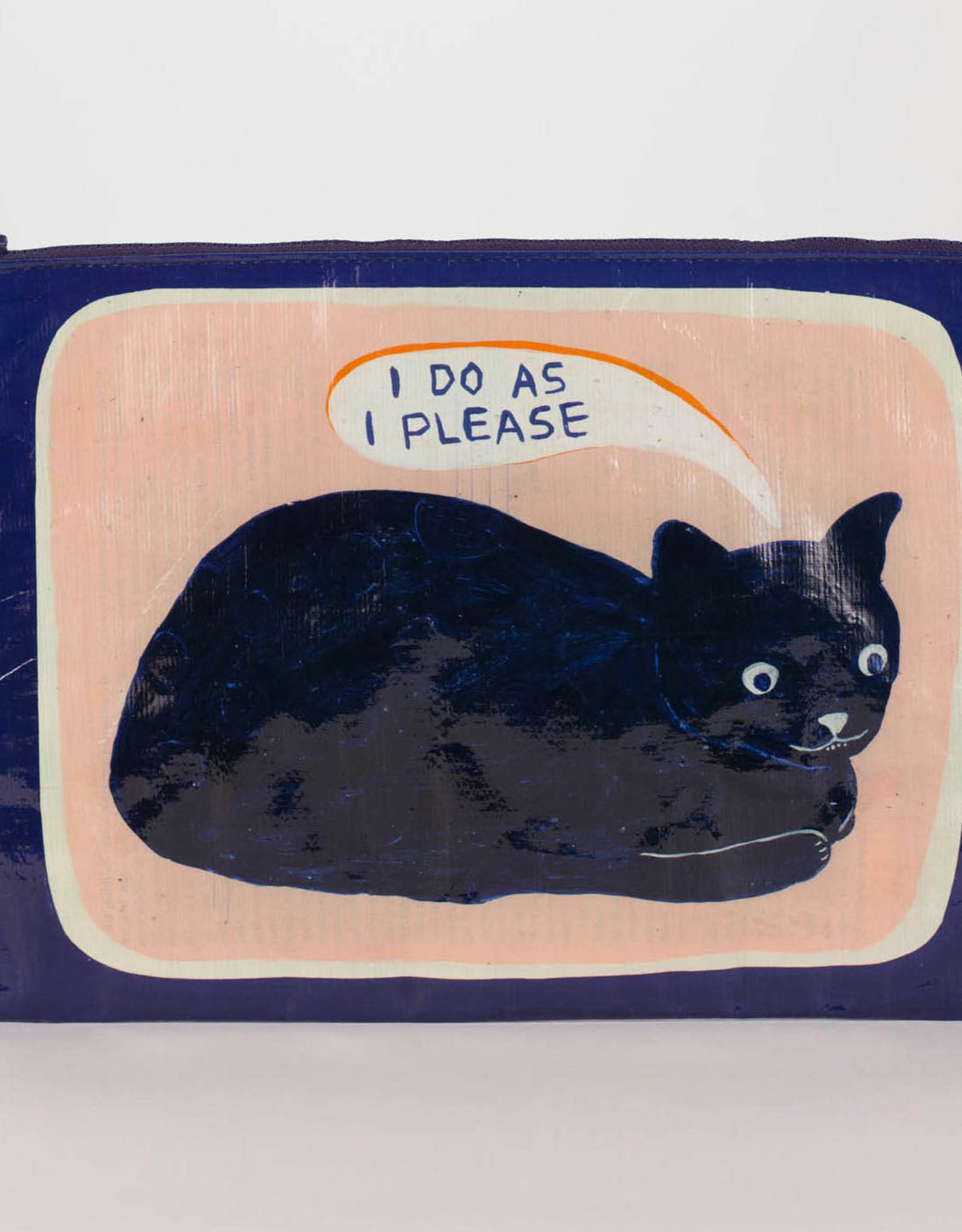 "Blue Q ""I Do As I Please"" Cat Jumbo Pouch Zipper Bag by Blue Q"