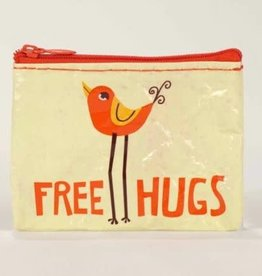 "Blue Q ""Free Hugs"" Zip Coin Pouch Purse"