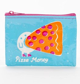 "Blue Q ""Pizza Money"" Zip Coin Pouch Purse"