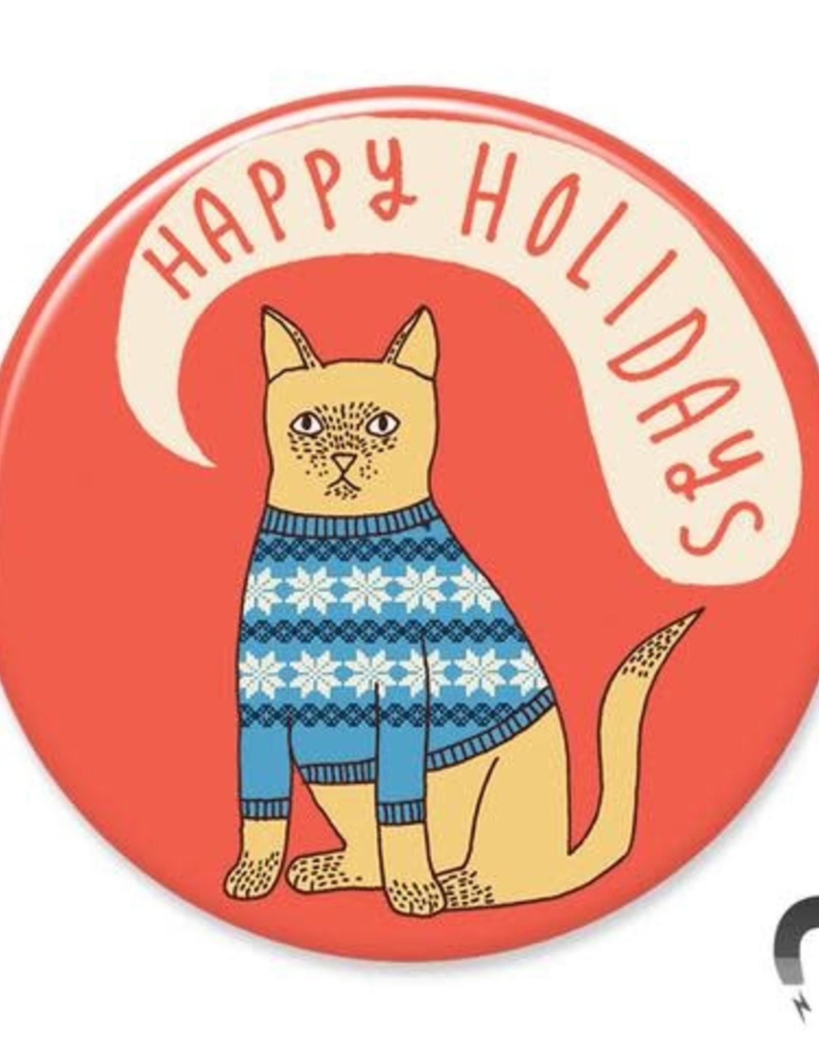 Badgebomb Happy Holidays Cat Big Magnet