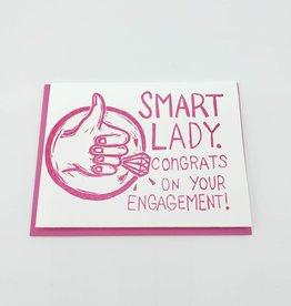 """Smart Lady. Congrats on Your Engagement"" Greeting Card - Papa Llama"