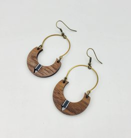 Bloom & Grow Designs Half Circle Painted Wood w/ Brass Curved Wire Earrings