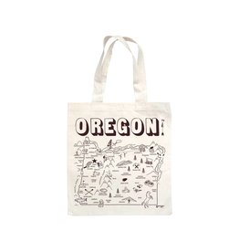 Maptote Oregon Grocery Natural Tote Bag, Brown Ink