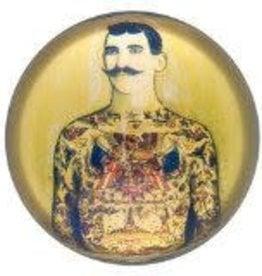 Vintage Tattooed Man Glass Paper Weight