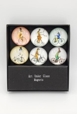Animals on Bicycles Glass Magnet Set of 6