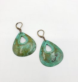Hammered Teardrop Earrings -Verdigris Copper
