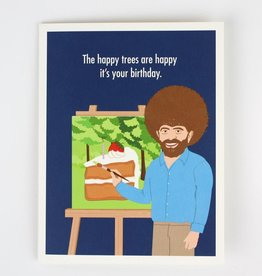 Seltzer Happy Trees Bob Ross Birthday Greeting Card - Seltzer