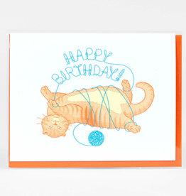 """Orange Cat with Yarn"" Birthday Greeting Card - Fickle Hill"