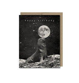 Seal Moon Birthday Greeting Card - The Galek Sea