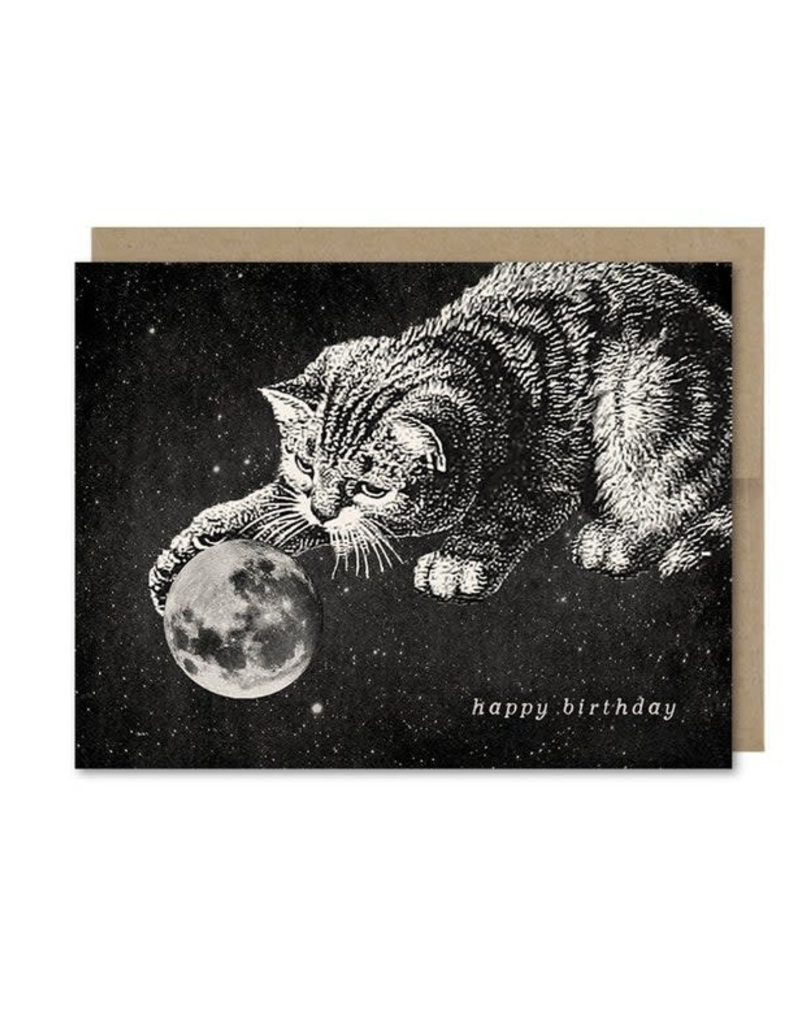Cat with Moon Toy Birthday Greeting Card - The Galek Sea
