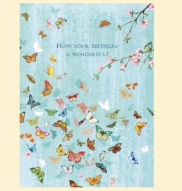 """Turquoise Butterflies"" Birthdays Greeting Card - Calypso"