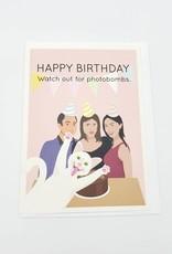 Seltzer Photobomb Cat Birthday Greeting Card - Seltzer