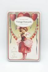 Cavallini Papers Vintage Valentines - Glitter Greeting Postcard Set of 12