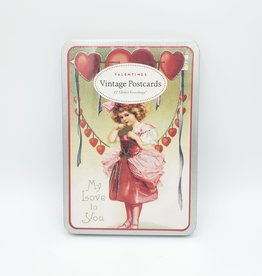 Cavallini Papers Vintage Valentines - Glitter Greeting Postcard Set of 12