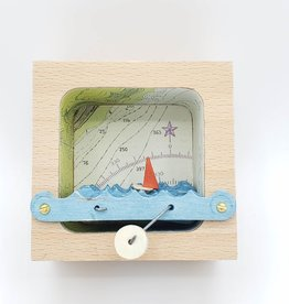 Make Waves Diorama Kinetic Sculpture, Nautical Map