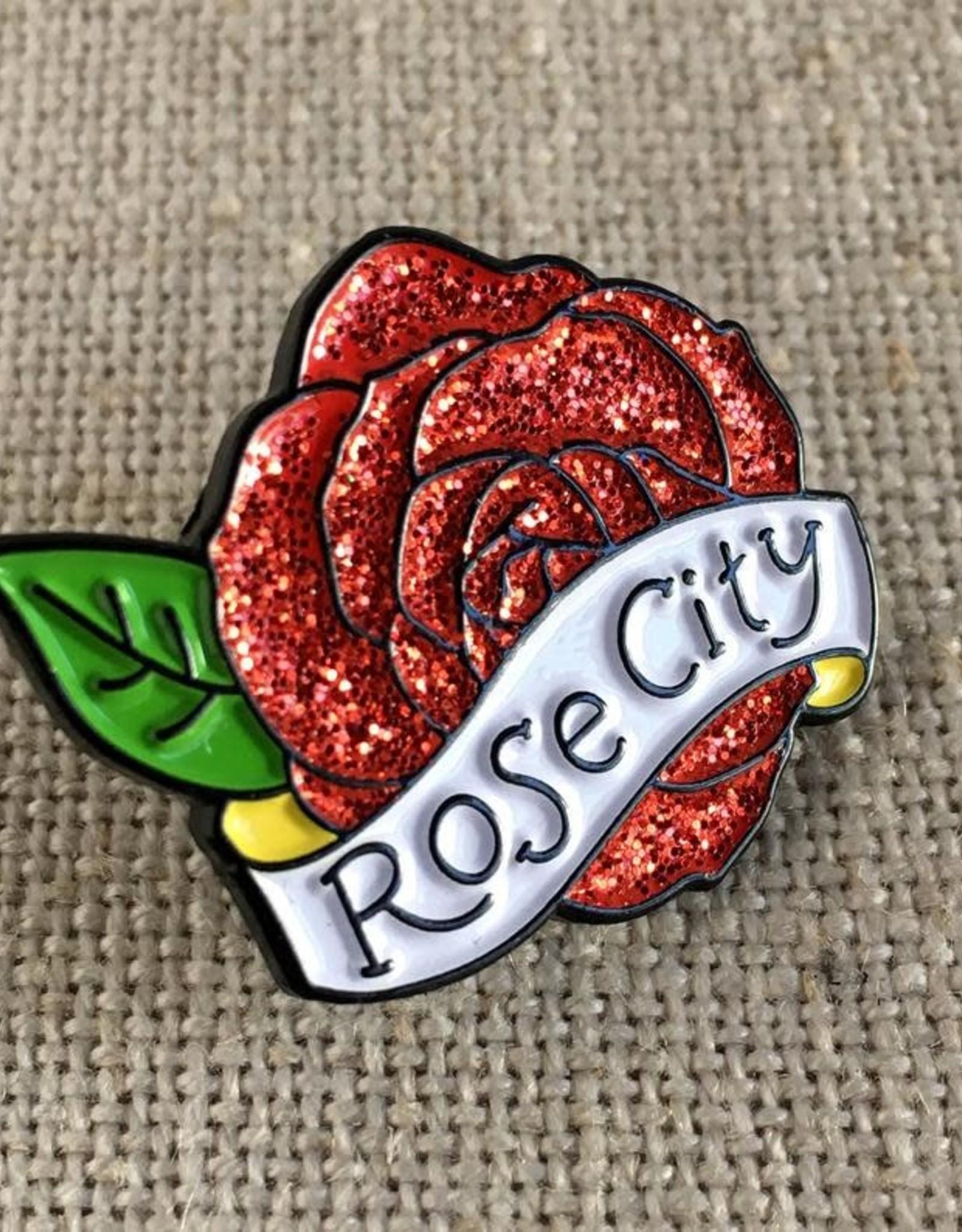 Rose City Enamel Glitter Pin, ACBC design