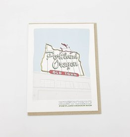 Portland Oregon Old Town Sign Greeting Card - acbc design