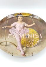"""Redux """"Feminist AF"""" - Vintage Upcycled Plate Art"""