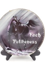 """Redux """"Fuck Politeness"""" - Vintage Upcycled Plate Art"""