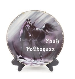 "Redux ""Fuck Politeness"" - Vintage Upcycled Plate Art"