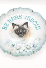 """Redux """"Be Here Meow"""" - Vintage Upcycled Plate Art"""