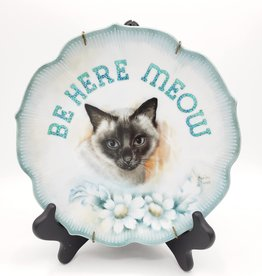 "Redux ""Be Here Meow"" - Vintage Upcycled Plate Art"
