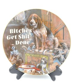 """Redux """"Bitches Get Shit Done"""" - Vintage Upcycled Plate Art"""