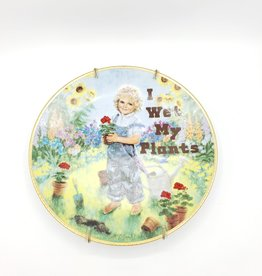 "Redux ""I Wet My Plants"" - Vintage Upcycled Plate Art"
